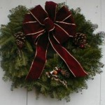 Wreath with burgundy bow